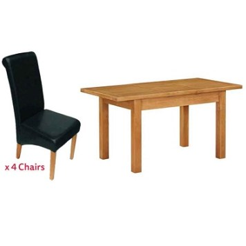 Holkham Extending Dining Set Oak With 4 Black Chairs
