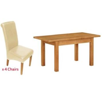 Holkham Extending Dining Set Oak With 4 Cream Chairs