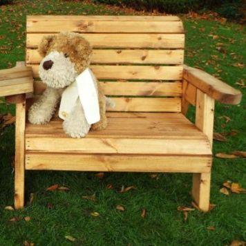 Little Fellas Redwood Kids Bench & Chair Combination Garden Furniture