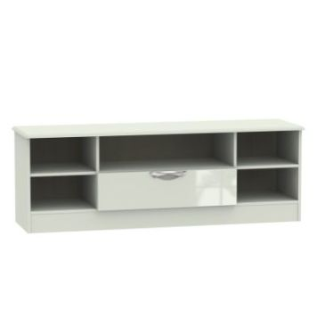 Weybourne Wide TV Unit Cream 5 Shelf 1 Drawer