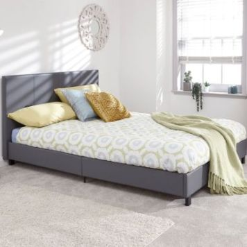 Bugi King Size Bed In A Box Grey Faux Leather