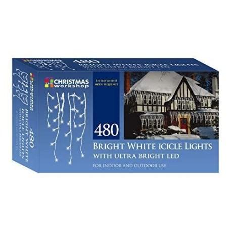 Christmas Workshop 480 LED Icicle Chaser Lights - White