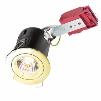 KnightsBridge GU10 50W 230V LED Compatible IC Fire Rated Fixed Downlight - Brass