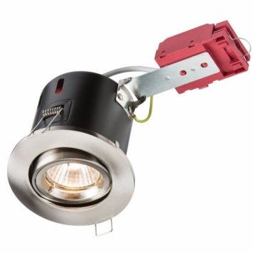 KnightsBridge GU10 50W 230V LED Compatible IC Fire Rated Tilting Downlight - Brushed Chrome