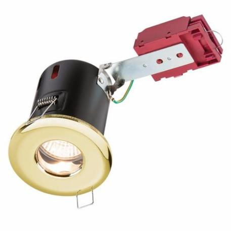 KnightsBridge IP65 GU10 50W 230V LED IC Fire Rated Fixed Shower Downlight - Brass