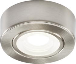 KnightsBridge Round LED Under Cabinet Fitting- Cool White - Brushed Chrome