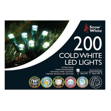 Snow White 200 LED Chaser Lights - White