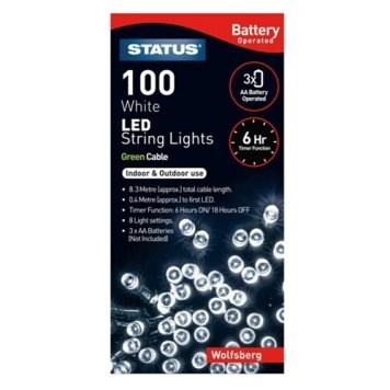 Status 100 White LED String Lights