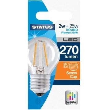 Status 2W Round LED Filament Bulb - ES