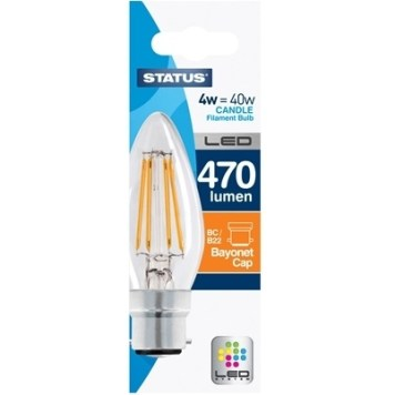 Status 4W Candle LED Filament Bulb - BC