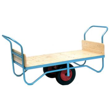 Barton Storage Barton Storage BT/9111/CT/RB Double Handle Flatbed Trolley With Rubber Wheels