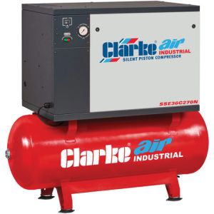 Clarke Clarke SSE36C270N 30cfm 270Litre 7.5HP Low Noise Piston Air Compressor (400V)