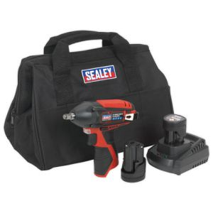 "Sealey Sealey CP1204KIT Impact Wrench Kit 3/8""Sq Drive 12V Li-ion - (2 Batteries, Charger & Bag)"