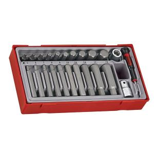 Teng TTHEX23 Metric Hex Bit Socket Set, 23 Piece - 1/2in Drive
