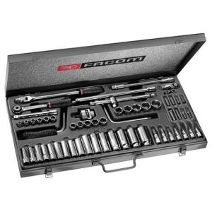 "Facom Facom J.451EP 3/8"" Drive Metric/AF 58 Piece Long and Short Reach Socket Set"
