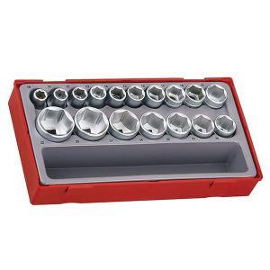 Teng TT1217-6 Metric 6-Pt Socket Set, 17 Piece - 1/2in Drive
