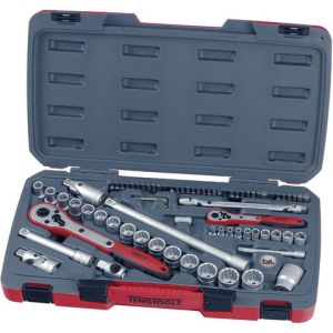 "Teng Teng T1272 1/4"" & 1/2"" Drive 6 & 12 Point Metric Socket Set 72 Piece"