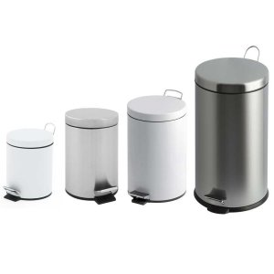 20 Litre White Metal Pedal Bin with Plastic Liner