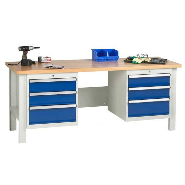 2000mm wide Basic Industrial Workbench with 2x Drawer Units
