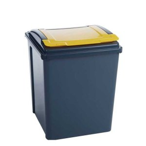 25 Litre Recycling Bin With Yellow Lid