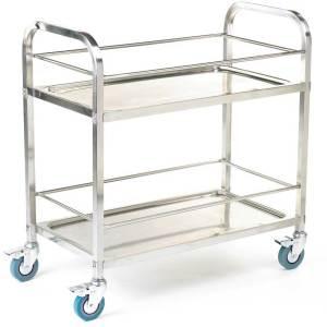 304 grade Stainless Steel Shelf Trolleys 2 Shelves & retaining rods