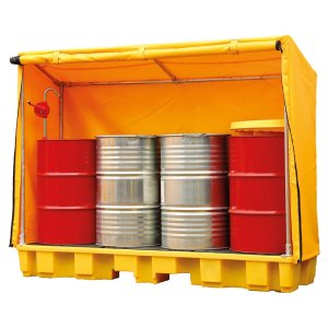 4 Drum In-line Covered Spill Pallet 235 litre capacity