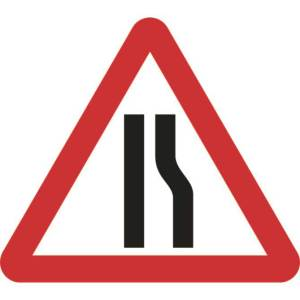 600mm Triangular Road Narrows Right Roll-up Sign