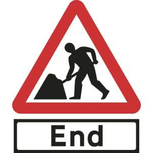 600mm Triangular Road Works & End Supp Plate Roll-up Sign