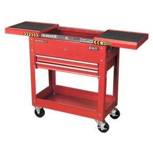 Black 2 Drawer Tool Trolley with Sliding Top box 770L x 370w x 830h