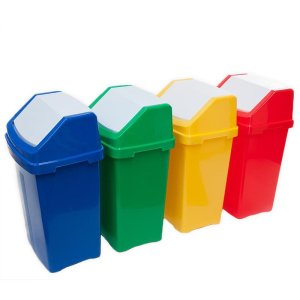 Blue 50 Litre Swing Top Recycling Bin with Graphic of Choice