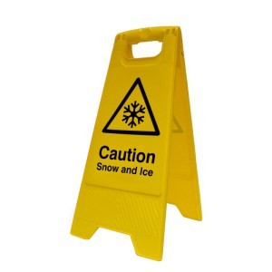 Caution Snow and Ice Floor Sign Stand