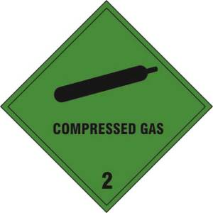 Compressed Gas 2 - Self Adhesive Sticky Sign (200 x 200mm)