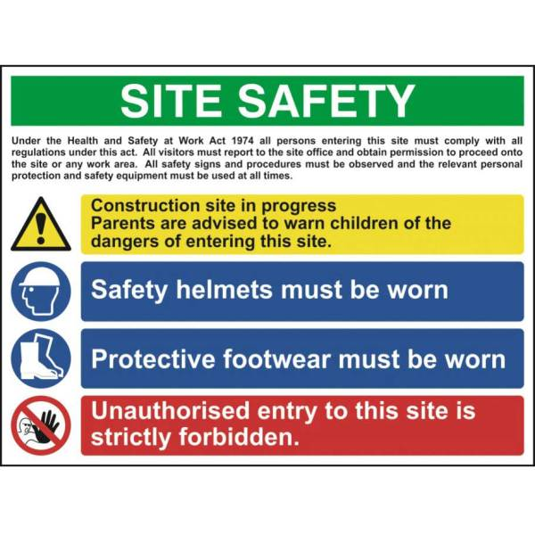 Construction Site Safety Sign With 1 Warning, 2 Mandatory & 1 Prohibition Messages