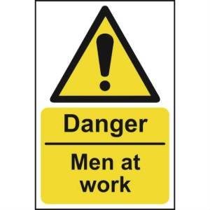 Danger Men At Work Sign - RPVC (400 x 600mm)