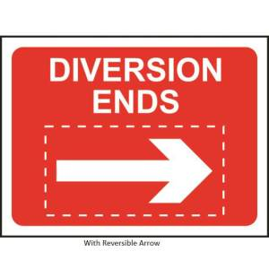 Diversion Ends Roll-up Sign With Reversible Arrow