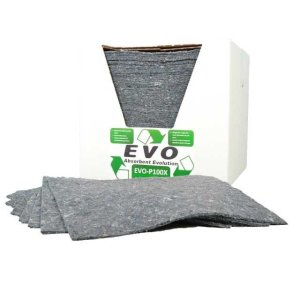 EVO Recycled Absorbent Spill Pads, pack of 50, poly-wrapped
