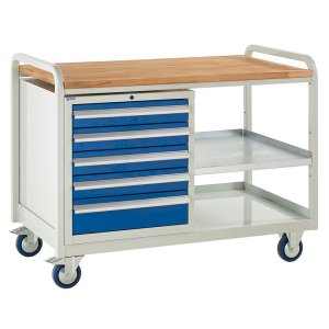 Euroslide Trolley Kit 2 - C/W Laminate Worktop, 5 Drawer Cabinet - 4x100mm & 1x150mm