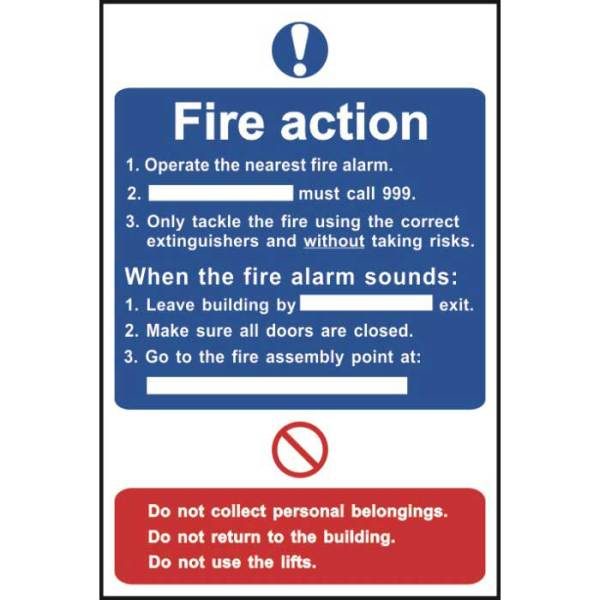 Fire Action Notice Sign - Sign - PVC (200 x 300mm)