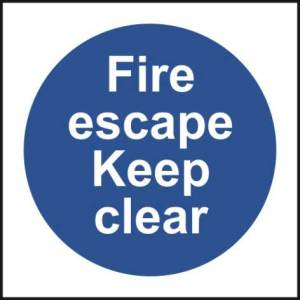 Fire Escape Keep Clear - Sign - PVC (100 x 100mm)