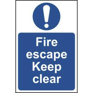Fire Escape Keep Clear Sign - RPVC (400 x 600mm)