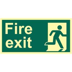 Fire Exit Man Right Sign - PHS (300 x 150mm)