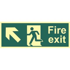 Fire Exit Man and Arrow Up/Left Sign - PHO (400 x 150mm)
