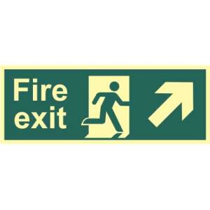 Fire Exit Man and Arrow Up/Right Sign - PHS (400 x 150mm)