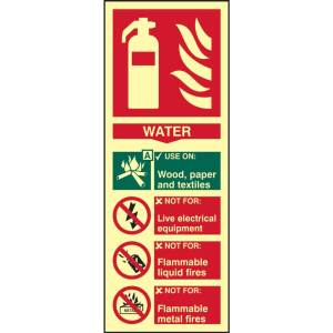 Fire Extinguisher: Water Sign - PHS (82mm x 202mm)