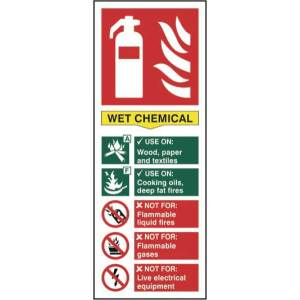 Fire Extinguisher: Wet Chemical - Self Adhesive Sign 82 x 202mm