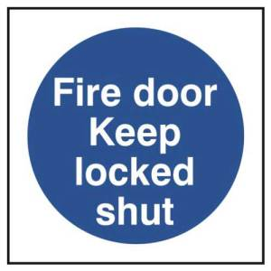 Fire door Keep locked shut - Sign - PVC (100 x 100mm)