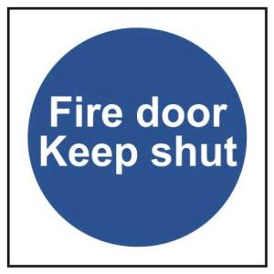 Fire door Keep shut - Self Adhesive Sticky Sign (100 x 100mm)