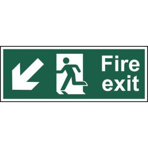 Fire exit (Man arrow down/left) - Sign - PVC (400 x 150mm)