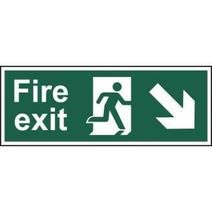 Fire exit (Man arrow down/right) - Self Adhesive Sign 400 x 150mm