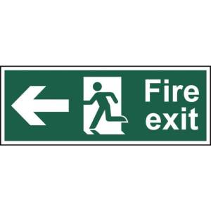 Fire exit (Man arrow left) - Self Adhesive Sticky Sign (400 x 150mm)